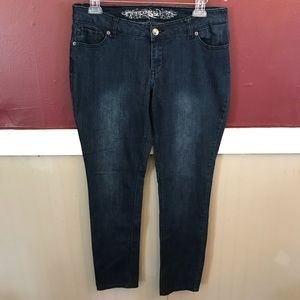Express skinny leg regular wash blue jeans size 12
